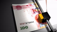 Concept animation, RMB money printer - stock footage