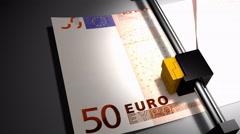 Concept animation, euro money printer Stock Footage