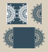 Template greeting card with openwork pattern - stock illustration