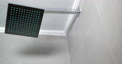 Modern Shower Head in in Shower Cabin Stock Footage