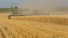 Classic Old-Fashioned Combine Harvests Wheat (Kansas USA) - stock footage