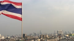 View from the golden mount with the Thai flag Stock Footage