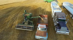 Unloading Wheat into Old Fashioned Farm Truck (Kansas USA) - stock footage