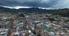 Aerial View of Otavalo, Ecuador (View from the Center of the City) Stock Footage