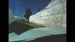Vintage 16mm film, 1952, Oregon, drive plate POV through snow banks Stock Footage