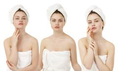 Portrait of Fresh and Beautiful brunette woman wearing white towel on her hea - stock photo