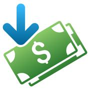 Stock Illustration of Banknotes Income Gradient Vector Icon