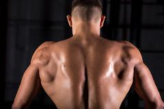 Brawny bodybuilder guy back - stock photo