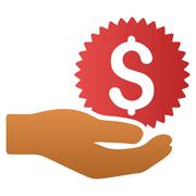 Stock Illustration of Money Prize Giving Hand Gradient Vector Icon
