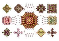 Ethnic cultural identity symbols - stock illustration