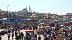 Panoramic view at crowded Instanbul, Turkey Stock Footage
