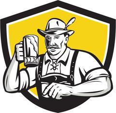 Bavarian Beer Drinker Oktoberfest Crest Retro - stock illustration