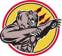 California Grizzly Bear Swiping Paw Circle Retro - stock illustration