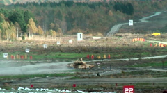 Modernized tank T-90S in action - stock footage