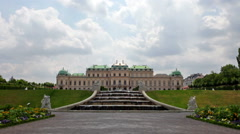 Baroque palace of Belvedere complex with fountain - stock footage