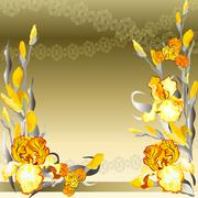 Yellow iris flowers design. Stock Illustration