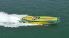 Aerial shot of speed boat - stock footage
