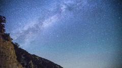 Time Lapse - Milky Way Galaxy Over the Mountain Hills - stock footage
