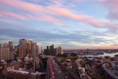 Sydney Cityscape Sunrise (reversed dusk) Stock Footage