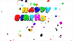 Happy Birthday and volleys of confetti on white background. Stock Footage