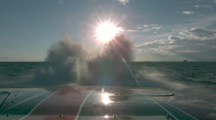 Slow motion shot from speed boat Stock Footage