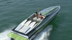 Aerial shot of speed boat Stock Footage