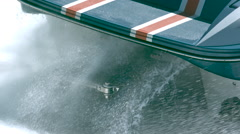 Super slow motion close up speed boat engine - stock footage