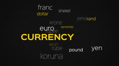Floating Currency Words Array Black Stock Footage