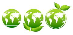 Earth day. Planet and green leaves - stock illustration