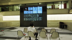 Multipanel Monitors display the latest Stock Trading Value Stock Footage