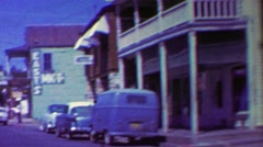 1962: Mainstreet drive hanging dummies hangman's historic place. Stock Footage