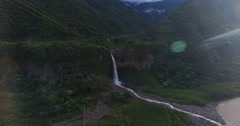 A Waterfall in Paradise (Manto de la Novia) with Lens Flare - stock footage