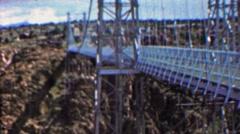 1961: Royal Gorge bridge man walking across national park. Stock Footage