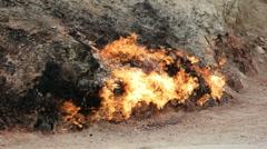 Burning mountain in Yanar Dag. Azerbaijan, Slow Motion Stock Footage