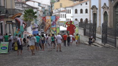 Tourists and local people in street of Salvador, Brazil - stock footage