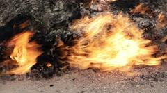 Burning mountain in Yanar Dag. Azerbaijan, 4K - stock footage