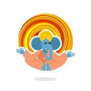 Lord Ganesha. Elephant yogi meditates. Blue Elephant is engaged in yoga. Anim Stock Illustration