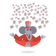 Republican Elephant hat Uncle Sam meditating votes in elections. Cheerful pol - stock illustration
