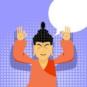 Buddha meditating. Buddha in pop art style. Indian god buddha on purple backg Stock Illustration