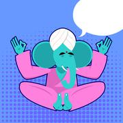 Lord Ganesha. Elephant yogi meditates. Elephant yoga. Blue Elephant is engage Stock Illustration