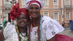 Afro Brazilian ladies in traditional dress in Salvador, Brazil Stock Footage