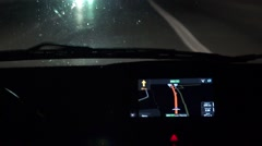 GPS navigation illumination in car driving at night. Close up on navigation s Stock Footage