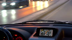 Man Driving Car With Integrated GPS Navigation at twilight Stock Footage