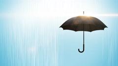 Black umbrella with raindrops animation Stock Footage