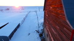 Red Barn on Kansas Farm in the Snow (Aerial) - stock footage