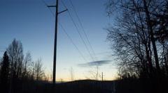 Alaska Telephone Pole and Dawn Stock Footage