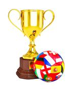 Gold trophy cup and soccer football ball with Europe flags - stock illustration