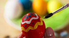 Colorful Easter Eggs Handmade, Paintbrush Draws Patterns - stock footage