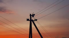Pole electric sunset orange landscape nature Stock Footage