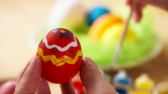 Colorful Easter Eggs Handmade, Paintbrush Draws Patterns Stock Footage